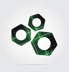 Green black tartan isolated icon - three nuts vector