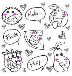 hand draw of fruit doodles vector image vector image