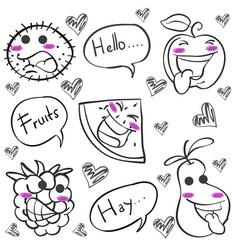 Hand draw of fruit doodles vector