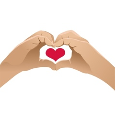 Hands shows heart symbol vector image