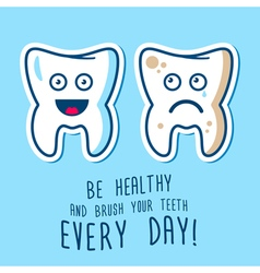 Healthy and ill teeth vector image vector image
