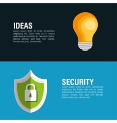 Idea security system lock shield banner icon vector