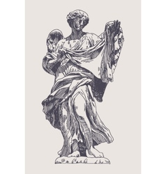 Ink drawing marble statue of angel vector