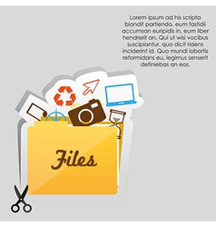 Label with cut lines and an icon of files folder vector