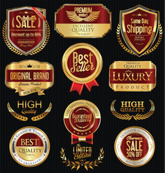 luxury golden retro labels collection 3 vector image