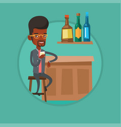 Man sitting at the bar counter vector