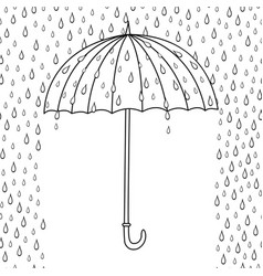 outline cute cartoon umbrella isolated on white vector image