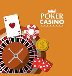poker casino roulette wheel dice money card chip vector image