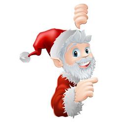 Santa peeking and pointing vector