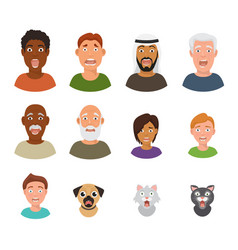 scared people face frightened characters vector image