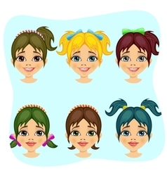 set of teenager girl avatar expressions vector image