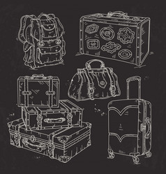 set suitcase bag and backpack for travel drawn on vector image