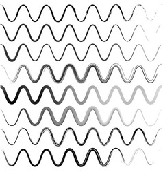 set waves of a zigzag with rounded corners vector image vector image