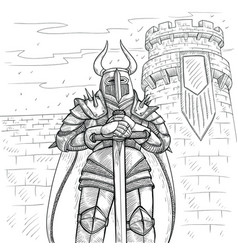 sketch by hand medieval vector image