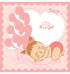 Sleeping baby girl in pink frame vector image