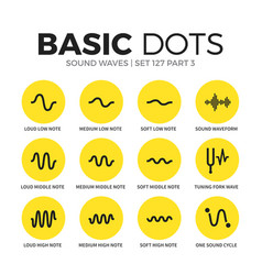 sound waves flat icons set vector image vector image