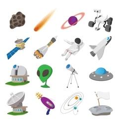 Space cartoon set vector image