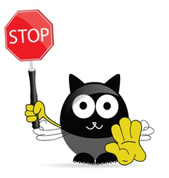 sweet and cute cat with sign stop vector image vector image