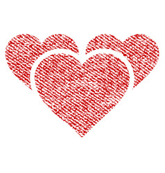 Valentine hearts fabric textured icon vector