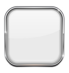 White square button shiny 3d icon with metal vector