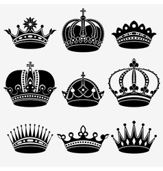 Set of nine crown vector
