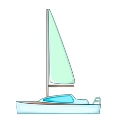 Yacht with sails icon cartoon style vector