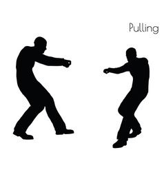Man in pulling action pose vector