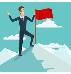 Businessman with flag on mountain peak success and vector