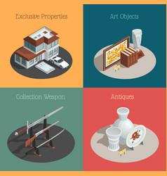 auction square compositions set vector image