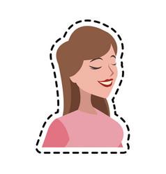 Pretty brunette woman icon image vector