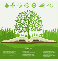 Ecology info graphics modern design green tree vector