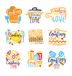 Cooking time logo design set of colorful hand vector