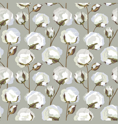 Cotton plant floral seamless pattern nature vector