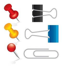 Colorful pushpin paper clip binder clip icon set vector