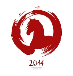Chinese new year of the horse red brush zen circle vector