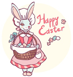 Postcard rabbit holding a basket of easter eggs vector