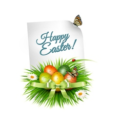 Spring easter background easter eggs in grass with vector