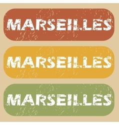 Vintage marseilles stamp set vector