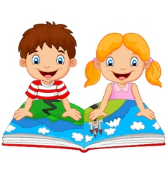 Cartoon boy and girl were readings the story vector image