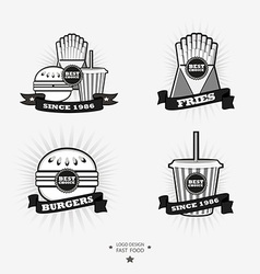 Set of fast food junk food logos with ribbon fries vector