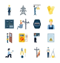 Electricity Repairmen Icons Set vector image