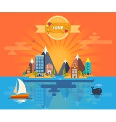 Summer landscape small town vector