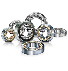 Metal roller bearings on white vector