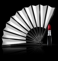White fan and lipstick vector