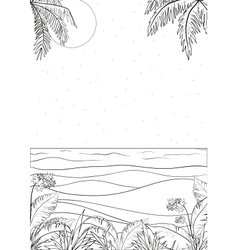 Tropical landscape outline vector
