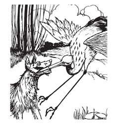 Aesop the wolf and the crane vintage vector