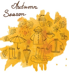 Autumn season set doodles elements hand drawn set vector