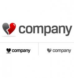 broken heart logo vector image vector image