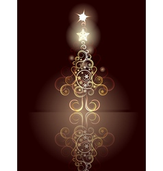 Card with Decorative Christmas Tree4 vector image vector image