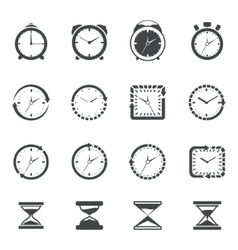 Clock icon black set vector image vector image